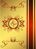 Classic Golden Red Backround. Royal golden backround with red floral elements Stock Images