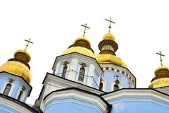 Classic golden roofs and blue walls at Saint Michael Cathedral in Kiev Ucraine Stock Images