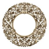 Classic golden round frame with ornament decor isolated on white stock image