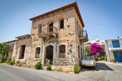Classic Greek houses in small town of Lasithi Plat. Eau on Crete Stock Photos