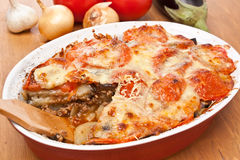 Classic Greek Moussaka with Eggplant Royalty Free Stock Photo