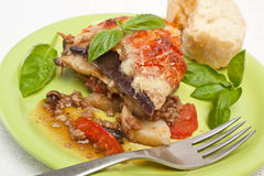 Classic Greek Moussaka with Eggplant Stock Photography