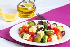 Classic greek salad with feta cheese royalty free stock photography