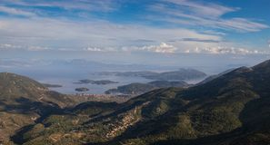 Classic Greek sea view from the mountain Royalty Free Stock Images