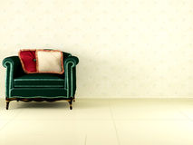 Classic green armchair indoor Royalty Free Stock Photos