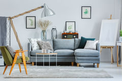 Green armchair in living room Royalty Free Stock Images