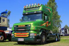 Classic Green Bonneted Scania Truck royalty free stock photography