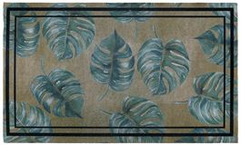 Classic green leaves Outdoor Door mat with twin black borders