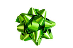 Classic Green Present Bow Isolated Royalty Free Stock Photo