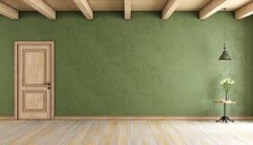 Classic green room with door Stock Photo