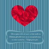 Classic Greeting Card. With Satin Heart and Place for Text Made in Vintage Style. Striped Blue Background. Vector EPS 10 Royalty Free Stock Image