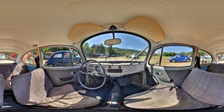 Classic Grey VW Beetle Inerior at a Classic Car Show. 360 panorama of the interior of a classic grey Volkswagen Beetle at a classic car show in Zeteváralja (Sub Stock Image