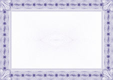 Classic guilloche border / diploma or certificate. Classic guilloche border for diploma or certificate with protective  ornament   / / A4 horizontal / CMYK color Stock Image