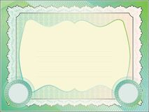 Classic guilloche border for diploma or certificate Stock Photography