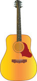 Classic guitar. In details drawn classical guitar with strings, splittings Stock Photography