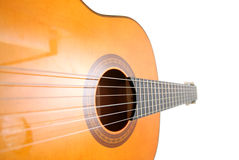 Classic guitar. Beautiful classic guitar, unusual perspective Royalty Free Stock Images