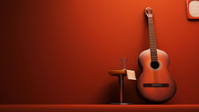 Classic Guitar interior. 3d rendered Stock Photos