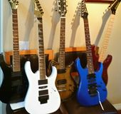 5 classic guitars. A photo of 5 classic guitars Ibanez Kramer Washburn Jackson stock photography