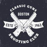 Classic Guns emblem, logo with crossed powerful pistols, guns, two handguns on ribbon Royalty Free Stock Photo