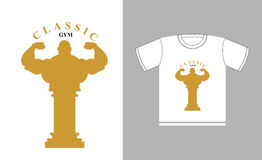 Classic Gym logo. Bodybuilder silhouette and an ancient Greek co Royalty Free Stock Images
