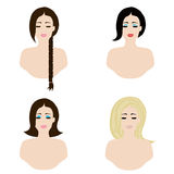 Classic hairstyles Stock Images