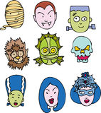 Classic Halloween Faces. A set of nine recognized halloween faces Royalty Free Stock Photography
