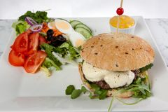 Hamburger cheese onion lettuce tomato sause stock photo