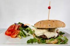 Hamburger cheese onion lettuce tomato royalty free stock images