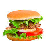 A classic hamburger isolated on white Stock Photos
