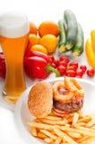 Classic hamburger sandwich and fries Stock Photo