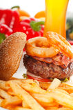 Classic hamburger sandwich and fries Royalty Free Stock Photography