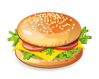 classic hamburger. Vegetarian hamburger on white background. Fresh sandwich with beef, lettuce, tomato, bun and cheese. American fast food Stock Images