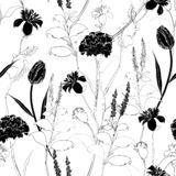 Classic hand drawing sketch carnation black and white seamless pattern vector design for fashion,fabric,wallpaper vector illustration