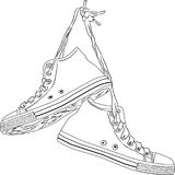 Classic hand drawn vintage sneakers Stock Photos