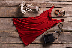 Classic handbag and keyhole dress. Royalty Free Stock Images