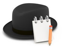 Classic hat with notepad and pencil Royalty Free Stock Photography