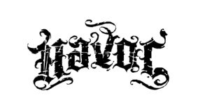 Classic havoc script. Original vintage grunge script with dirty scratches royalty free illustration