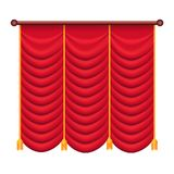 Classic Heavy Red Drape with Gold Tie Back Vector. Heavy drape of red fabric with gold tie back rope and tassels vector isolated on white. Classic curtain in stock illustration