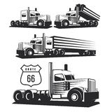 Classic heavy truck illustration isolated on white background. Truck with trailer and tip truck. Vector illustration Royalty Free Stock Image