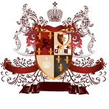 Classic heraldic design with coat of arms and shield in vintage Royalty Free Stock Image