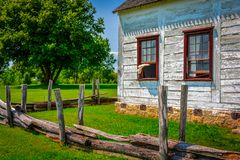 Classic heritage pioneer family farm house detail; eastern prairie. stock image