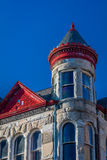 Classic historic Missouri Trust Building in Sedalia, Missouri shows vintage American architecture that was previously abandoned, o. N Ohio Avenue stock photography