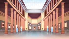 Classic historic museum art gallery hall with columns and glass ceiling interior ancient exhibits and sculptures. Collection flat horizontal vector illustration royalty free illustration