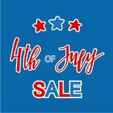 Classic Holiday Vector Lettering Series Happy 4th of July. USA Holiday Vector Lettering Card or Banner design. 4th of July Sale in american national colors royalty free illustration