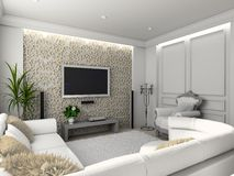 Classic home interior. Living-room with the classic furniture. 3D render. Interior with TV set royalty free stock photography