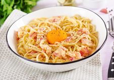 Classic homemade carbonara pasta with pancetta, egg, hard parmesan cheese and cream sauce. stock image
