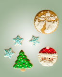 Classic homemade gingerbread cookies. Gingerbread cookies on green background Stock Photography