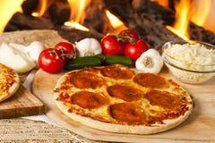 Classic Homemade Italian Pepperoni Pizza Stock Image