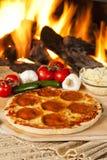 Classic Homemade Italian Pepperoni Pizza Stock Photos