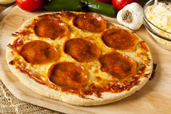Classic Homemade Italian Pepperoni Pizza Stock Images